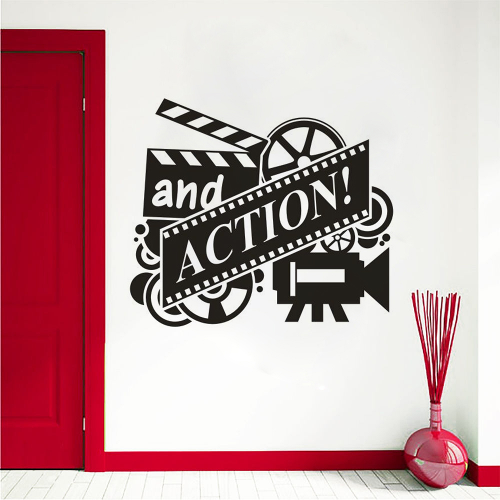Movie Action Vinyl Wall Murals Cinema Film Reel Wall Art Sticker Removable Movie Theater Decor Movie Playing Wallpaper Az361 Wall Stickers Aliexpress