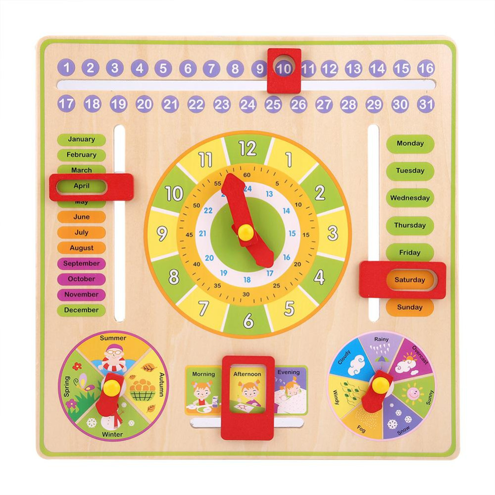 Baby Wooden Clock Toys Early Educational Multifunctional Wooden Clock Toys Time Date Season Weather Kids Toys Gift For Children