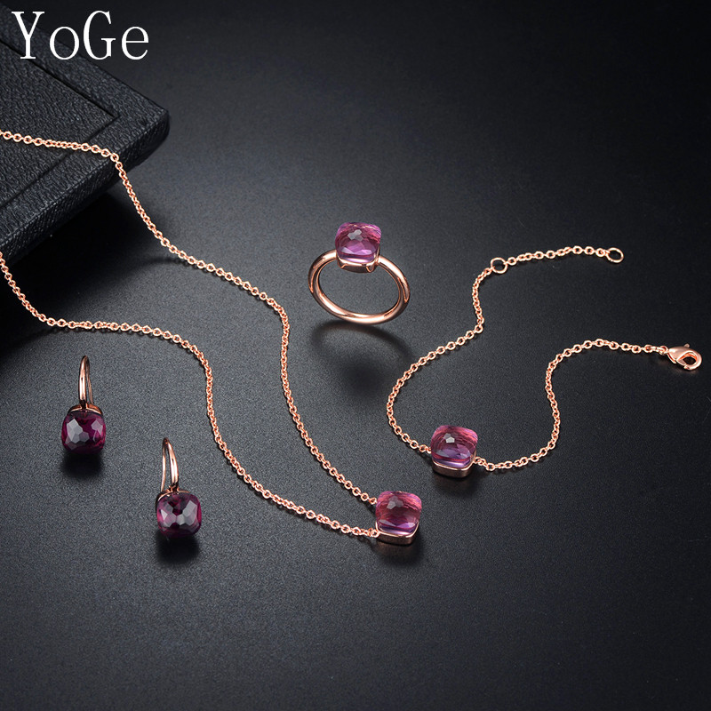 YoGe Statement Jewelry Luxury Popular puple square crystal necklace stud earrings bracelet and ring 4pcs set