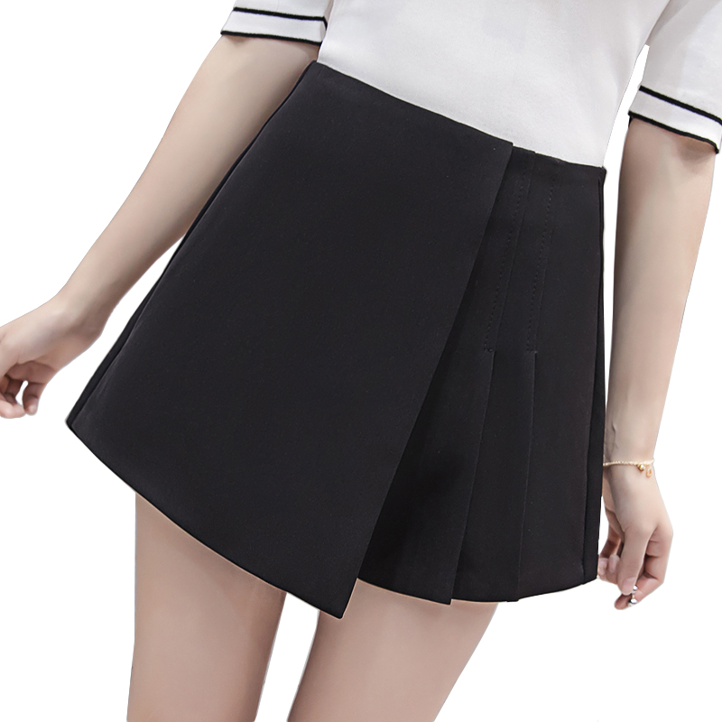 Solid color high waist pleated skirt   shorts   2018 spring summer irregular wide leg   shorts   for women ladies slim   short   pants