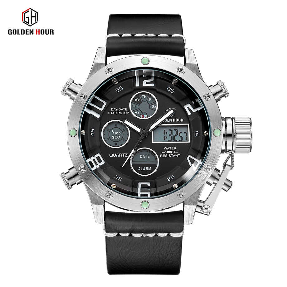 GOLDENHOUR Men's Fashion Sport Watches Men Quartz Analog LED Clock Man Leather Military Watch Male Clock Relogio Masculino