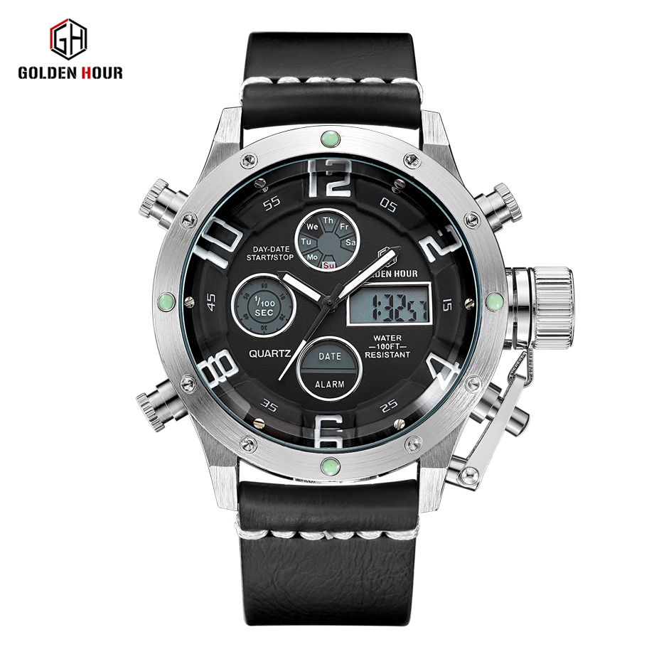 GOLDENHOUR Brand Men's Fashion Sport Watches Men Quartz Analog LED Clock Man Leather Military Waterproof Watch Relogio Masculino 2017 new top fashion time limited relogio masculino mans watches sale sport watch blacl waterproof case quartz man wristwatches