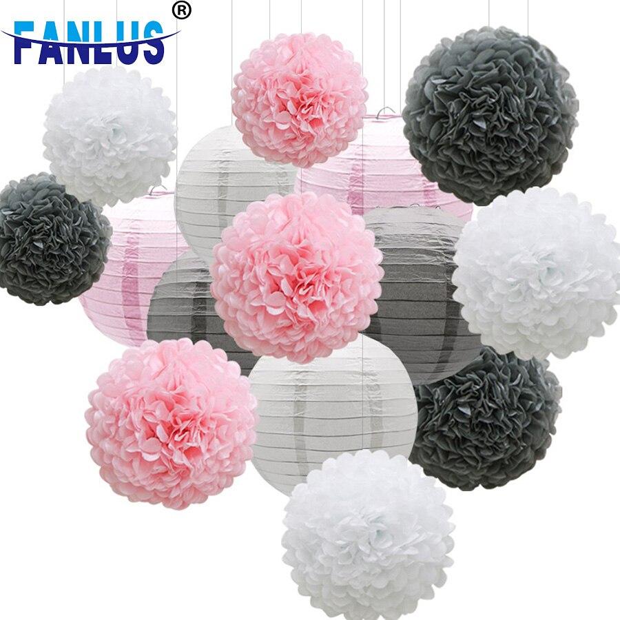 18pcs/Set White Pompoms Wedding Party Happy Birthday Decorations Adult Kids Bachelorette Baby Shower Supplies