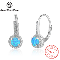 Luxury Fire Blue Opal Earrings 925 Sterling Silver Hoop Earrings Gem Stone Fashion Jewelry Crystal Hot Sell for Women Wholesale