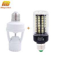 [MingBen] DIY PIR Induction Infrared Motion Sensor LED lamp Base Holder + 7W 9W 12W 15W SMD 5736 E27 LEDs lamp For Night light
