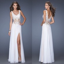Discount Long Evening Dress A-line V-neck Tank Gown Sleeveless Chiffon Prom Appliques To Party Women