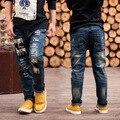 Розничная высокое качество осень брюки мальчики девочки детские джинсы джинсы для мальчиков свободного покроя джинсовые брюки 3-14Y малышей одежда
