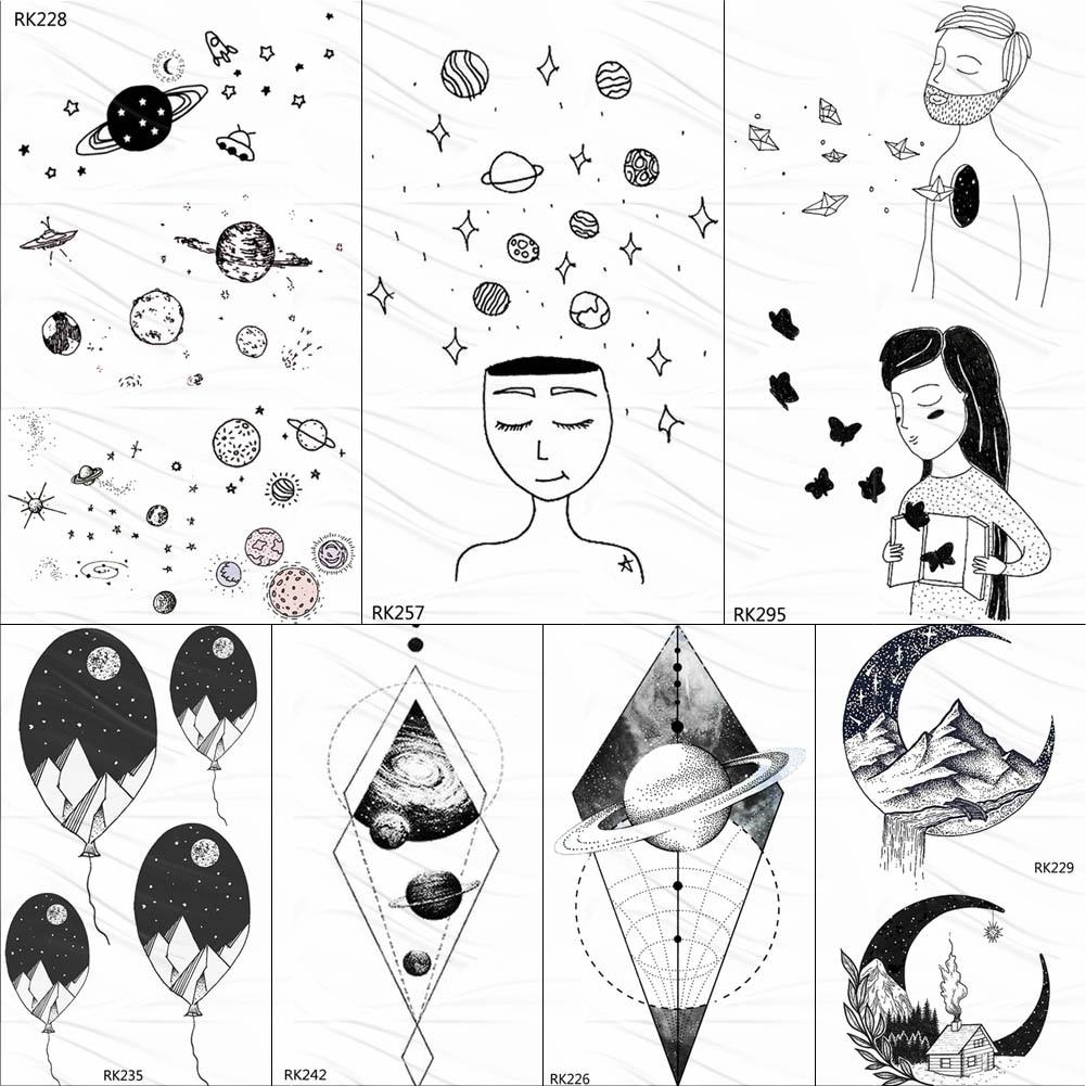 OMMGO Universe Planets Cute Temporary Tattoos For Kids Black Sticker Body Art Arm Star Fake Tattoo Star Custom Tatoos For Child
