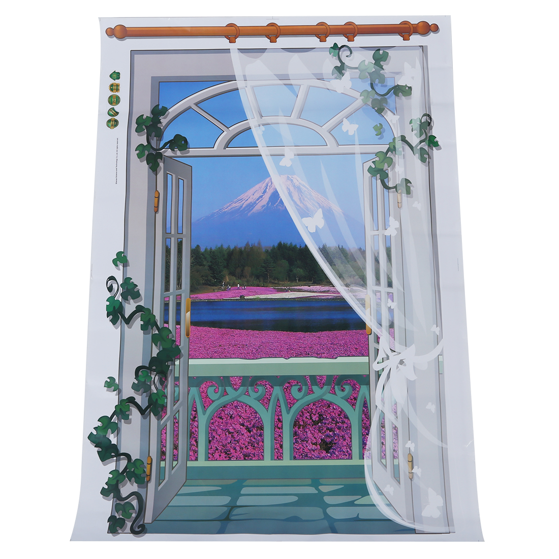 removable 3d window scenery wall sticker home decor decals mural decal exotic beach view vertical - Home Decor Screens