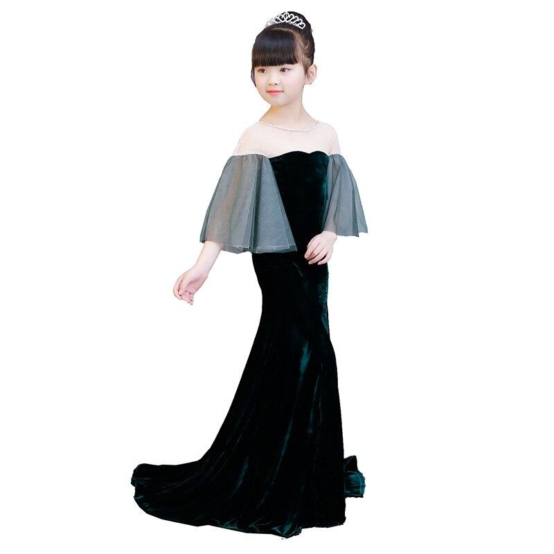 Velours enfants fille robe formelle longs résidus fleur fille robe Flare manches anniversaire Tutu robe de princesse sirène robes de fille - 5