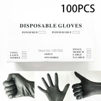 100PCS Latex Tattoo Gloves Disposable Soft Black Medical Nitrile Sterile Tattoo Gloves Tattoo Accessories Free Shipping