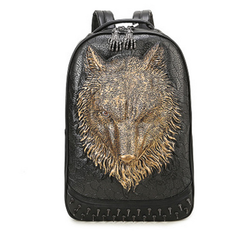 Fashion Punk Men Unique Travel 3D Backpack Gothic Rivet Wild Wolf Printing Motorcycle Ride High-capacity Student Laptop BagsFashion Punk Men Unique Travel 3D Backpack Gothic Rivet Wild Wolf Printing Motorcycle Ride High-capacity Student Laptop Bags