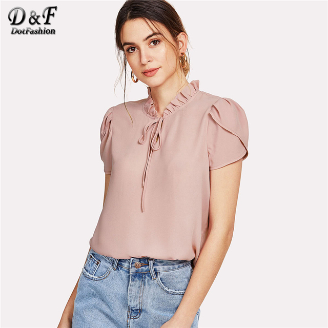 4b8f5bf18e9 Dotfashion Ruffle Trim Tie Neck Petal Sleeve 2018 Summer Pink Stand Collar  Cap Sleeve Top Ladies Regular Fit Casual Blouse