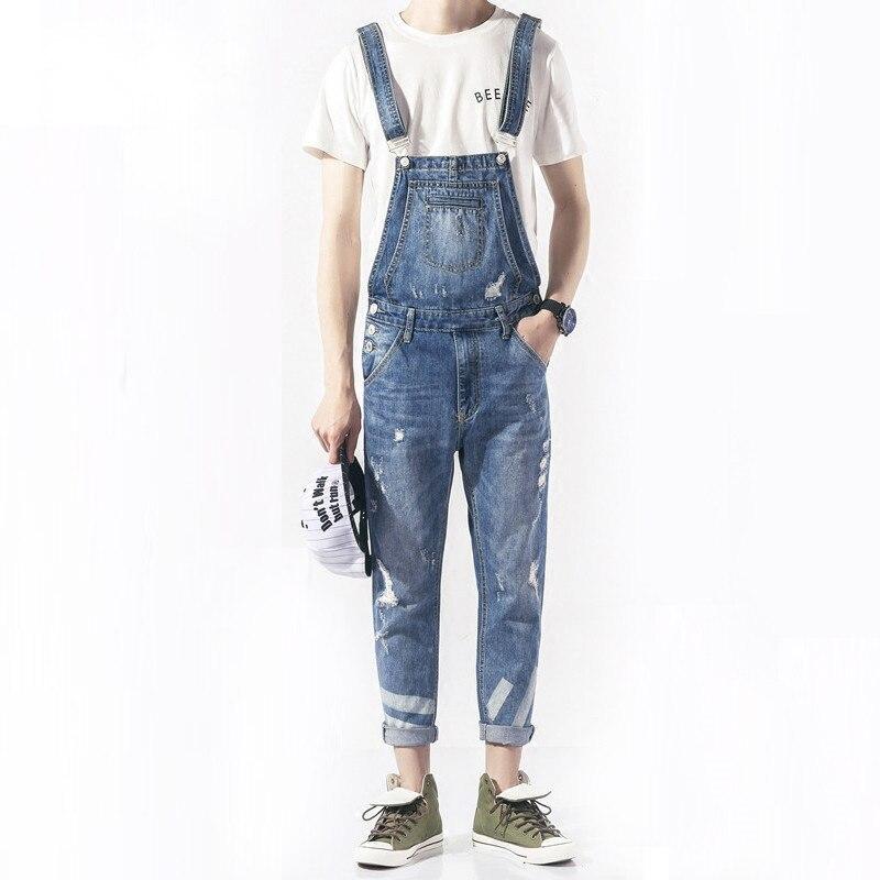 KCAE 2017 New Mens Bib Overalls Fashion Ankle Length Denim