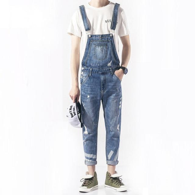 047b5661a668 KCAE 2017 New Mens Bib Overalls Fashion Ankle Length Denim Overalls Men  Light Blue Ripped Jeans Male Denim Jumpsuit