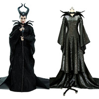 MALEFICENT Costume Angelina Jolie Cosplay Uniform Black Long Dress Costume Halloween Carnival Women Full Set
