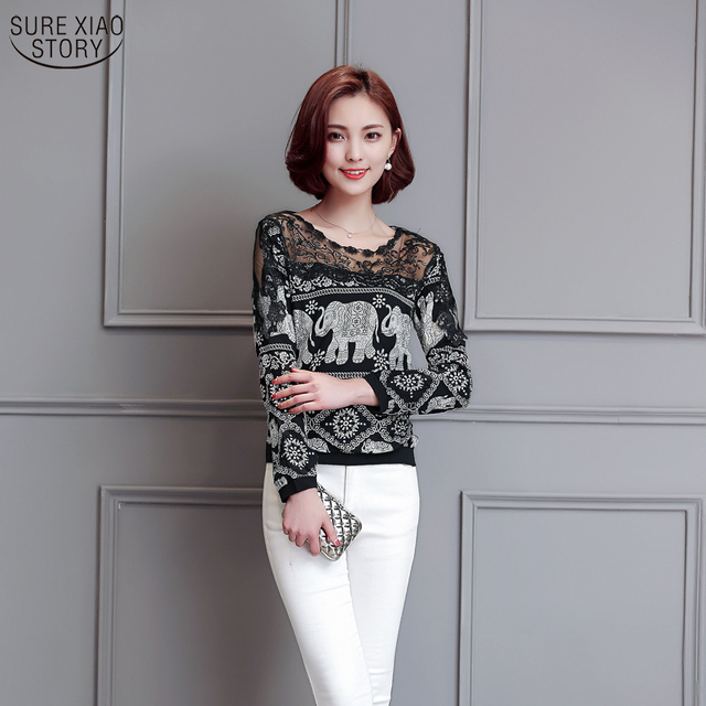 NEW 2016 Spring Women's Loose Plus Size Strapless Lace Shirt Basic Shirt Long-sleeve Top Lace Appliques Women Blouses  602C 25