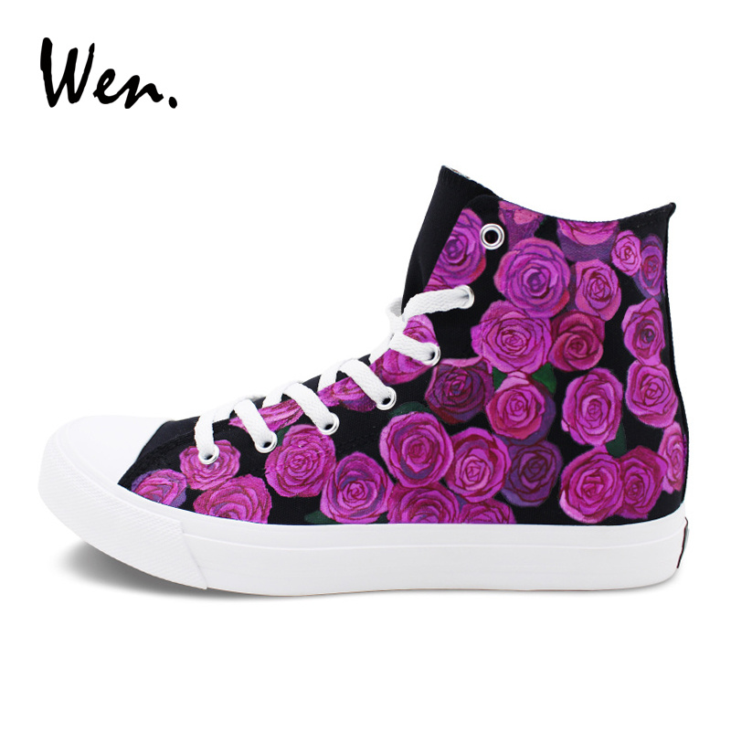 Wen Original Design Purple Roses Men Women Canvas Sneakers Hand Painted Flower Shoes High Top Black Flat Skateboarding Shoes 2017 purple galaxy nebula original design converse all star men women shoes hand painted high top man woman sneakers washable