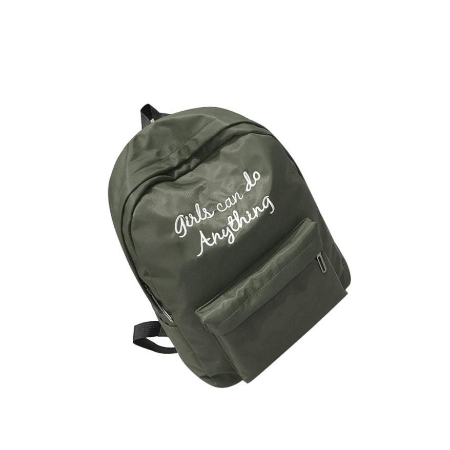 Green Letter Anti Theft Waterproof Backpack Women Men Teen Girls Boys Backpack Travel Shoulder Backpacks Casual Daypack Bags#30