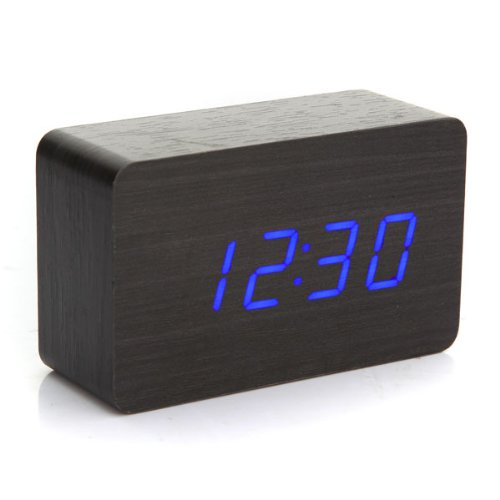 GSFY-New Modern Wooden Wood USB/AAA Digital Blue LED Alarm Clock Calendar Thermometer