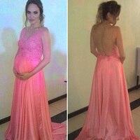 מקסים שמלות הערב ארוך בהריון שמלות הריון ארוך ורוד חרוזים אימפריה מותן שמלות לנשף שמלות ערב Vestidos Festa