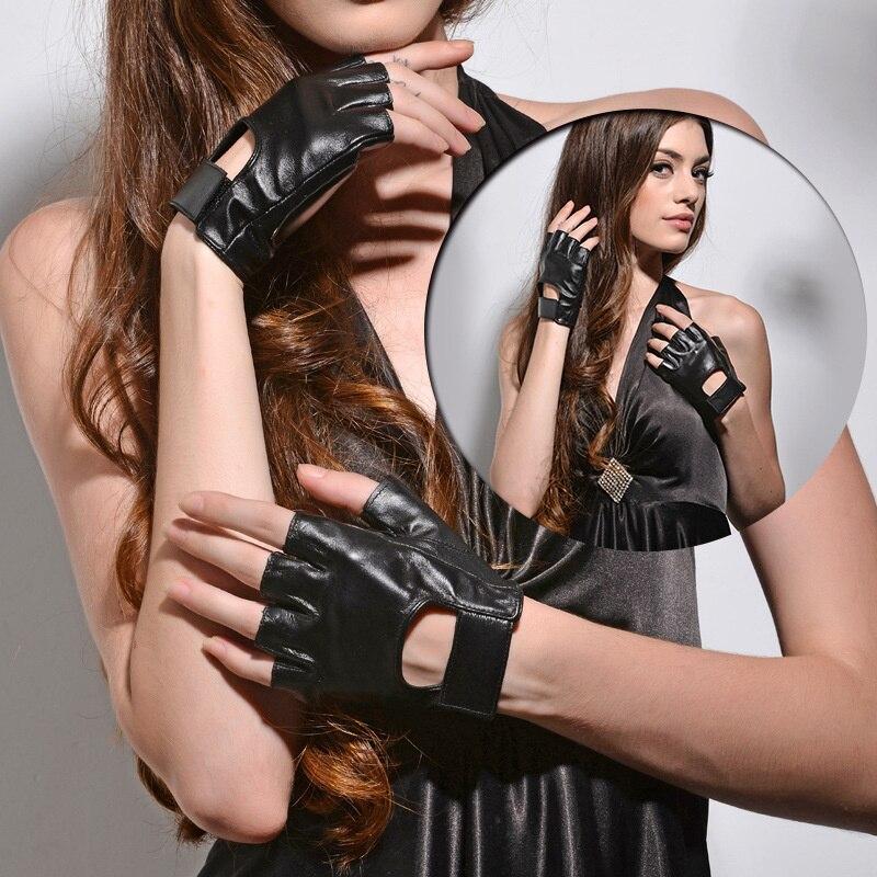 Genuine Leather Lady Half Finger Gloves 2018 New Driving Non-Skid Breathable Short Fingerless Sheepskin Gloves Female NS09-5