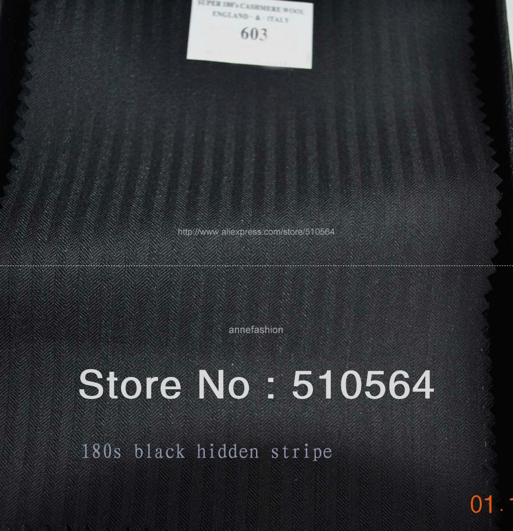 Stripe Suit Vest Pant Jacket Custom-Made Black Wool Men 180s Hidden 100%Worsted