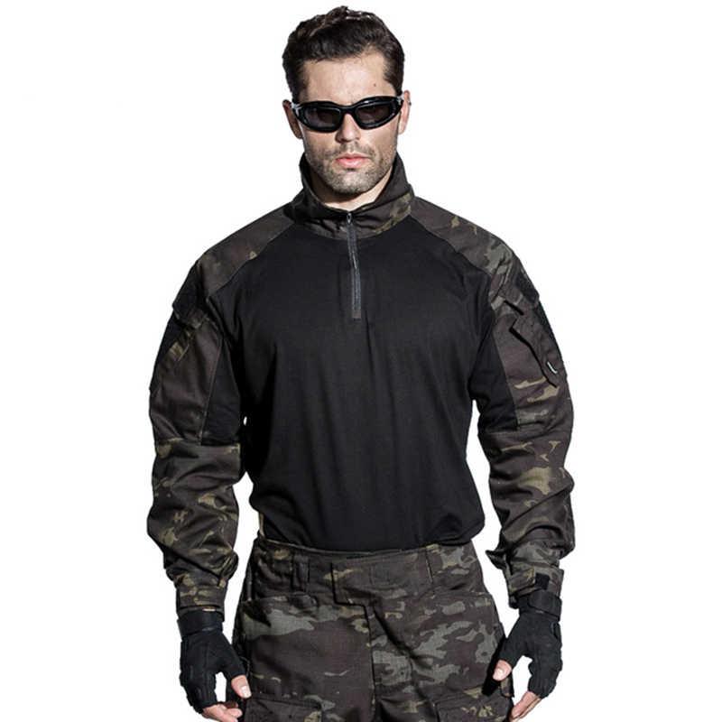 G3 боевой рубашка в стиле милитари военный тактический пейнтбол Униформа охотника рубашка мультикам MCBK синий Камуфляжный маскировочный костюм Топ