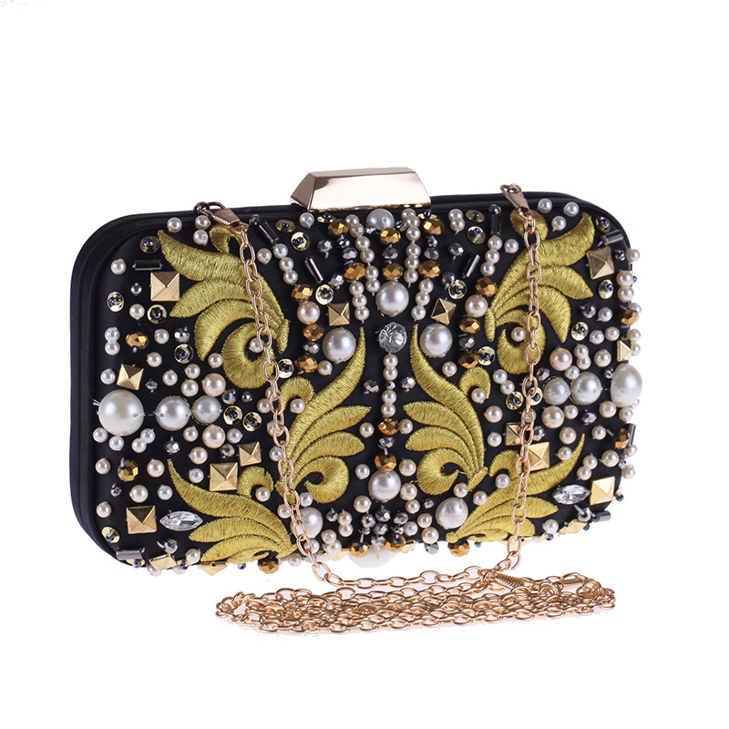 Vintage Female Evening Clutch Bag Lady Party Flap Embroidered Pearl Beading Handbag Floral Pouch Metal Chain Shoulder Bag Hasp