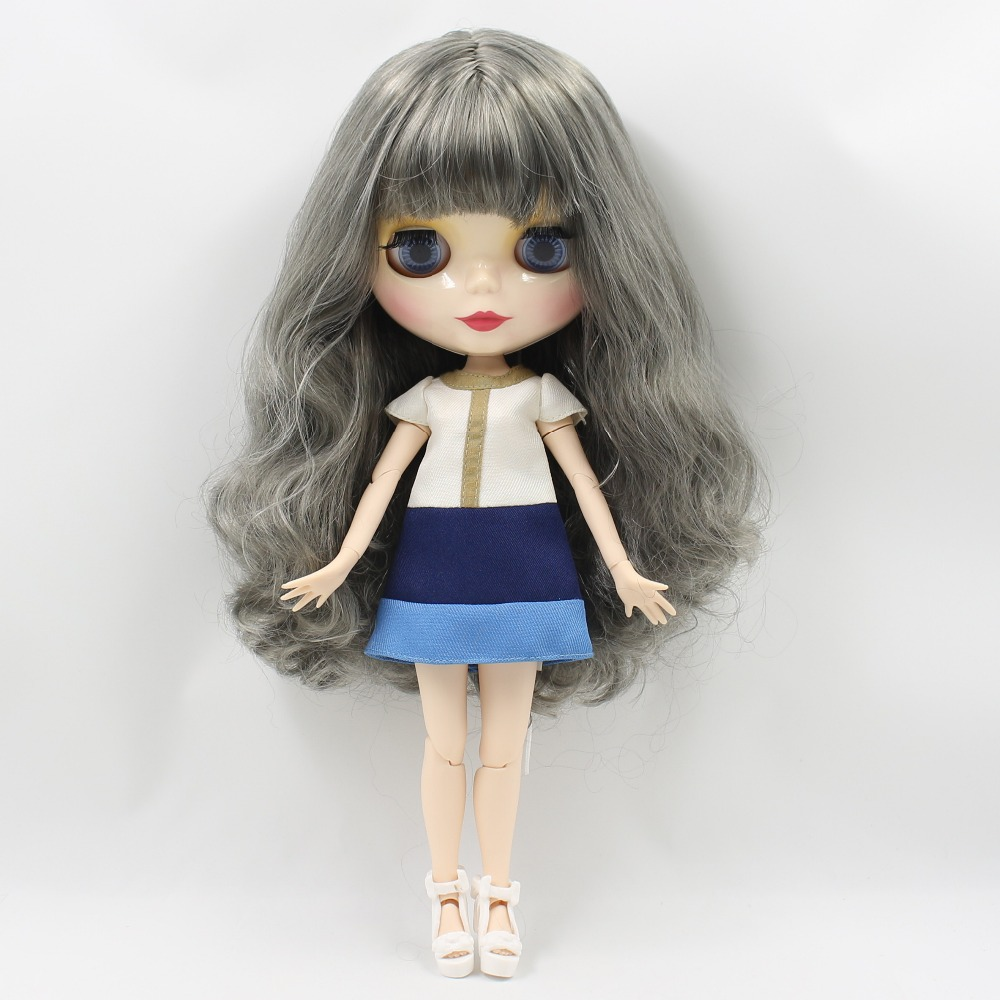 Free shipping ICY blyth doll BL9016 8800 grey wavy hair with fringes bangs shiny face joint