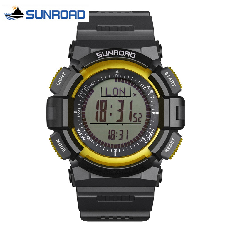 SUNROAD Men Watches Waterproof Digital Altimeter Compass Stopwatch Barometer Pedometer Sport Wrist Watch Clock Relogio Masculino sunroad fr800nb sports watch men waterproof digital altimeter barometer compass watches pedometer men watch style clock green