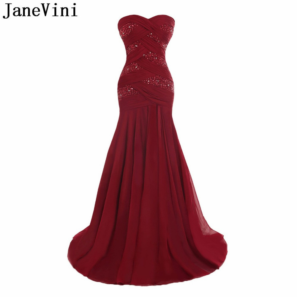 JaneVini Brautmutterkleid 2019 Beaded Mother Of Bride Evening Dress Pleat Chiffon Crystal Long Ladies Formal Wedding Party Gowns