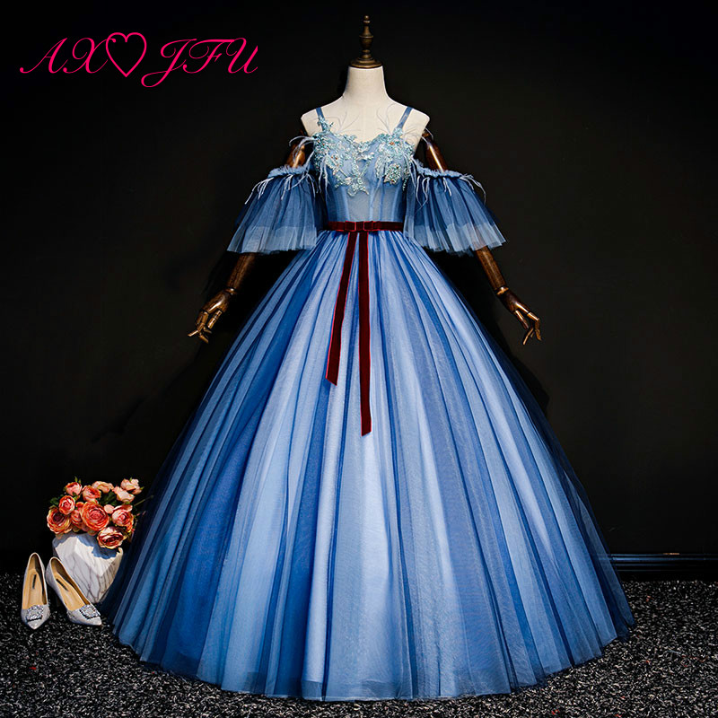 AXJFU princess navy blue lace   evening     dress   stage vintage boat neck beading flower feather red bow blue lace   evening     dress