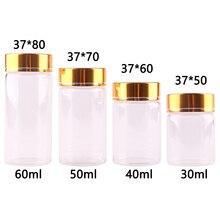 24x Dia 37mm 30ml/40ml/50ml/60ml Transparent Glass Spice Bottles Jars Terrarium with Golden Aluminum Cap Lid Wedding Gift Craft