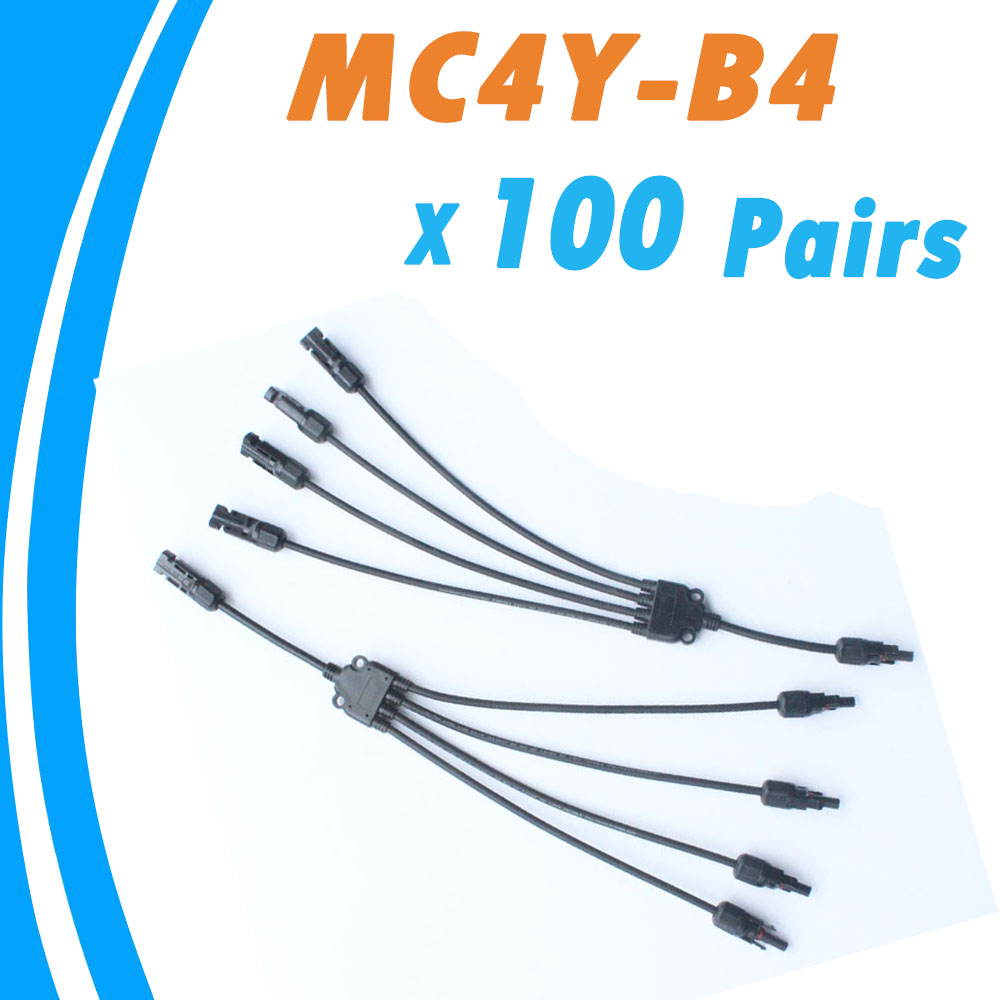 100 Pieces 30A Solar Panel MC4 Conectores IP67 1000V DC MC4Y-B4 4 Pin Waterproof Connector Female and Male Solar Cable 100 pieces 30a solar panel mc4 conectores ip67 1000v dc mc4y b4 4 pin waterproof connector female and male solar cable