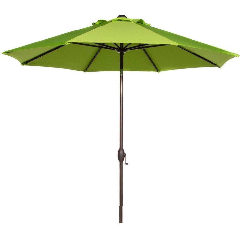 Abba Patio Table Umbrella With Auto Tilt Crank And 8 Aluminum Ribs 9 Feet  Lime Green