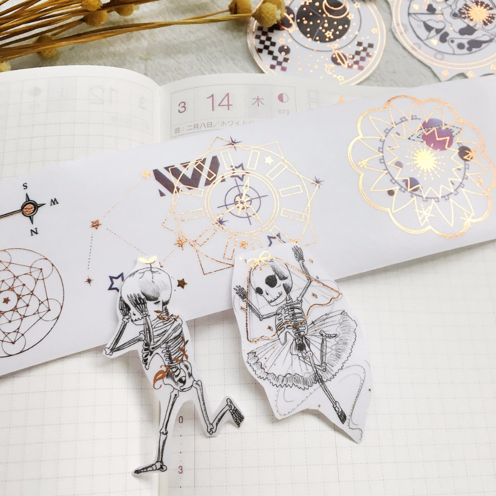 35mm*5m Vintage Dancing Skull Bone Creative Halloween Skeleton Decoration Washi Tape DIY Planner Diary Scrapbooking Masking Tape