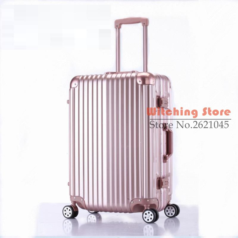 26 INCH  20242629# direct fashion new rose gold board case travel trunk universal wheel aluminum box #EC FREE SHIPPING 24 inch 20242629 direct aluminum frame rod universal wheel luggage suitcase board box bags and one generation ec