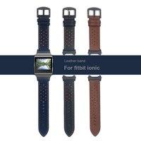 Couro Band Para fitbit Iônico iônico Acessórios Tiras de Substituição para Fitbit pulseira Pulseira (Com adaptador preto)
