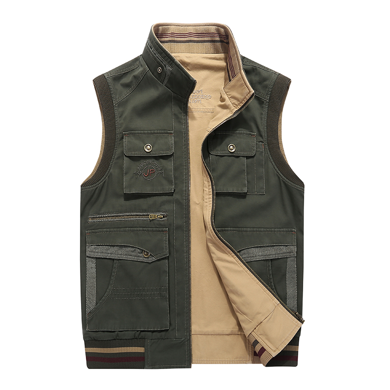 AFS JEEP Brand Vest Men Multi pockets fishing hunting photography Outdoor Military Vest Reversible Waistcoat Plus Size 5XL
