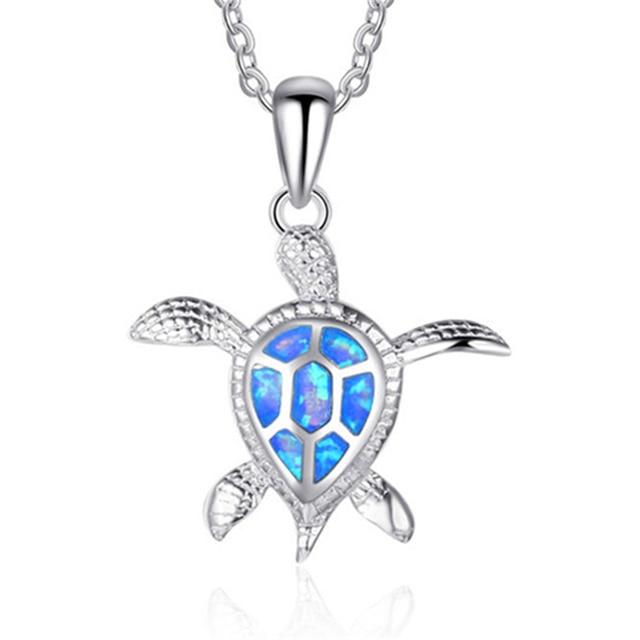 Marcatsa Fashion Red Blue Color Fire Opal Turtle Pendant Necklace for Women  Boho Animal Statement Choker Necklace Beach Jewelry c773129b5a86