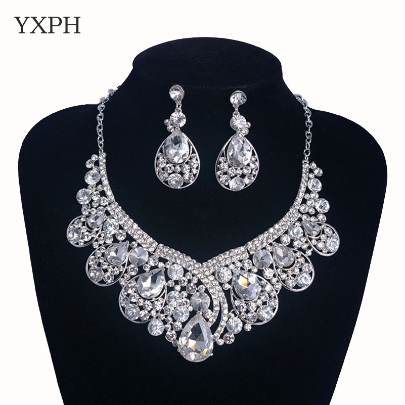 Woman White Rhinestone Glass Jewelry Sets Pendant Necklace Pin Earrings Bride Fashion Wedding Dress Dangle Accessories