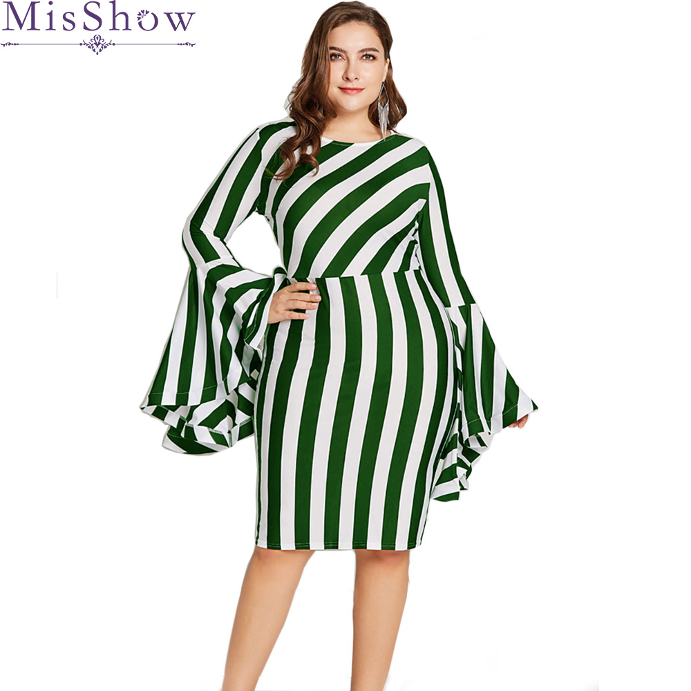 New Plus Size Dress Women Striped Autumn Elegant Dresses Red Flare Sleeve Office Lady Dress Bodycon Party Dresses Vestidos Robe