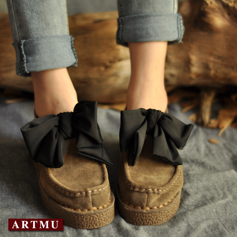 Handmade sewing spring and autumn bow nubuck cowhide women shoes soft outsole comfortable low heels Moccasins