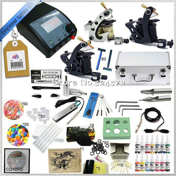1 Sets Professional Starter Complete Tattoo Kit 3 Guns Rotary Machine Equipment +Ink +Power Supply +Needle + CD for Body Art #T complete tattoo kit 4 professional tattoo machine kit coil machine guns 54 inks power supply needle grips us warehouse in stock