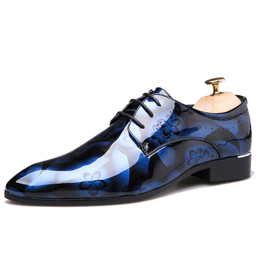 Bright-Shoes Playboy Men's Luminous-Mirror Casual Fashion Straps Pointed-Paint Explosions