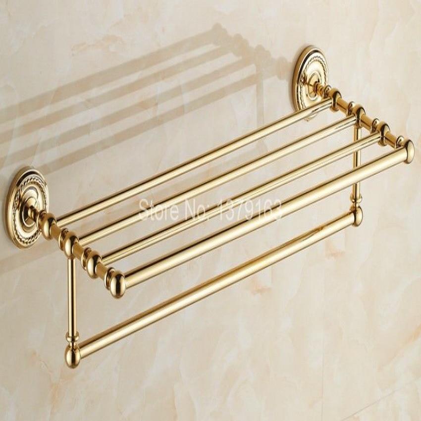 Acessório do banheiro de ouro cor bronze dourado fixado na parede do banheiro toalha prateleira barra toalha toalheiro toalheiros titular aba601