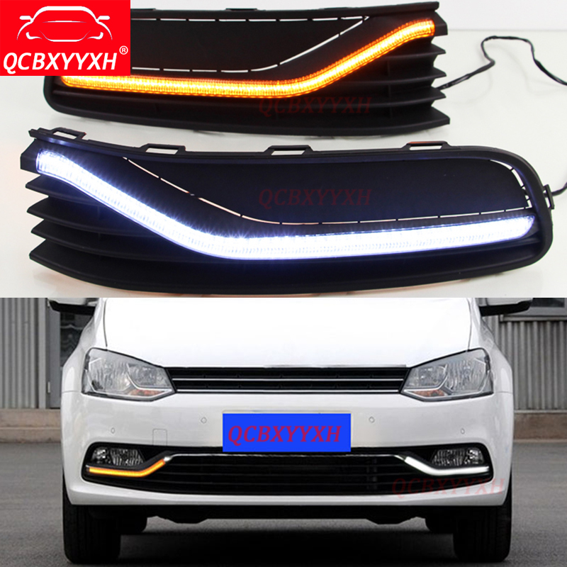 QCBXYYXH Car-styling White Turn Yellow Signal Light Relay 12V LED Car Decorate DRL Daytime Running Lights For VW Polo 2014 2015 2pcs car led turn signals drl headlight canbus kit 1156 daytime running front light yellow white turn signal lamp