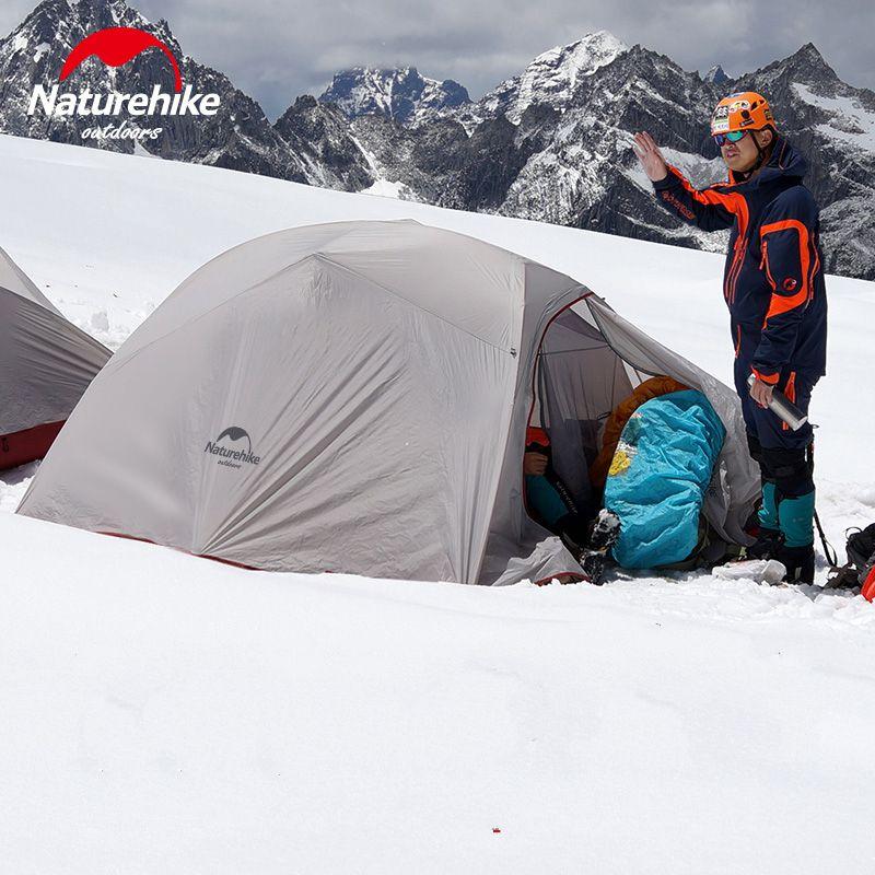 Naturehike Extérieur Tente 3 Personnes 210 t/20D Silicone Tissu Double couche Tente de Camping Ultra-Léger Tente Familiale En Aluminium poteau