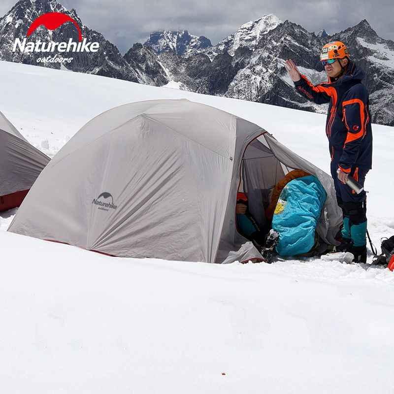 Naturehike açık çadır 3 kişi 210 T/20D silikon kumaş çift katmanlı kamp çadırı Ultralight aile çadırı alüminyum direk